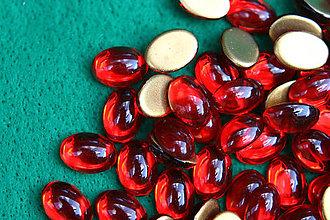 Komponenty - Sklenený kabošon červený - 5766143_