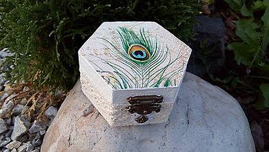 Krabičky - Šperkovnice mini.. s elegancí páva - 5766735_