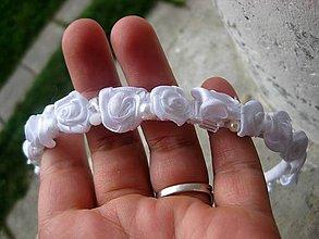 Ozdoby do vlasov - FOR YOU kvietková čelenka (white roses - čelenka - akcia č.269) - 5764299_