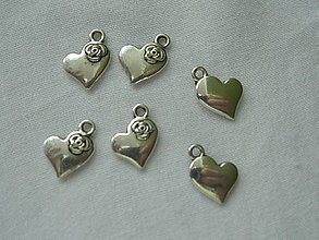 Komponenty - Prívesok - tibetské srdce strieborné - 11x15 mm - 5765754_