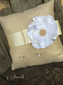 Prstene - Svadobný vankúšik  {White flower} zľava - 5767040_