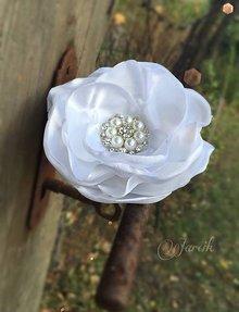 Ozdoby do vlasov - Svadobný kvet {White} - 5767137_