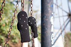 Rukavice - Bodkované čierne palčiaky - 5767444_