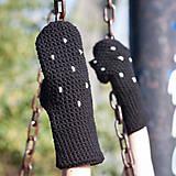 Rukavice - Bodkované čierne palčiaky - 5767446_