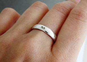 Prstene - prsteň Infinity, 925 striebro+585 zlato - 5768308_