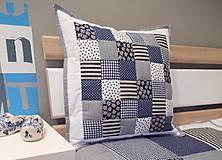 Úžitkový textil - vankúš 40 x 40 cm bielo - parížsko modrý 40x40cm - 5768887_