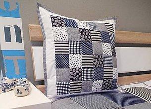 Úžitkový textil - Prehoz, vankúš patchwork vzor bielo-parížsko modrá, vankúš - 5768887_