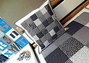Úžitkový textil - patchwork deka 140x200cm snehovo bielo - parížsko modrá - 5769141_
