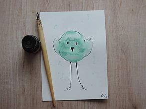 Kresby - Tyrkysový metalický vtáčik IV. - 5768551_