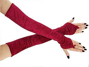 Rukavice - Dlhé spoločenské rukavice zamatové červené opera 0965A - 5770475_