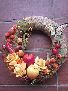 Dekorácie - Venček jesen-ruža+ovocie  pre Jarku - 5771339_
