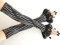 Dámské čierno bielé rukavice s čipkou 03E