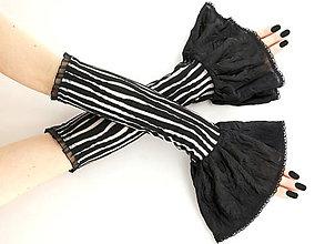 Rukavice - Dámské čierno bielé rukavice  08P - 5776672_
