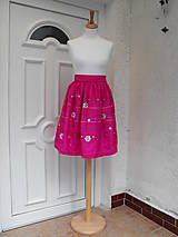 Sukne - sukňa ružová maľovaná - 5774237_