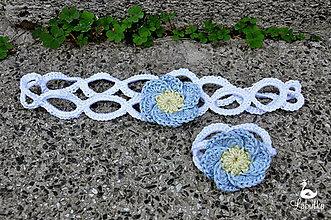 Detské doplnky - Bella ring set - čelenka a náramok, baby blue - 5773268_
