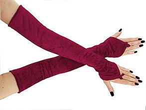 Rukavice - Dlhé spoločenské rukavice zamatové vínové opera 0965L - 5780011_