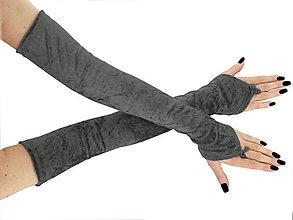Iné oblečenie - Dlhé spoločenské rukavice zamatové šedé opera 0965M - 5780051_