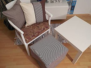 Úžitkový textil - návlek na taburet  40x40x40 cm čokoládovo - smotanový - 5780443_