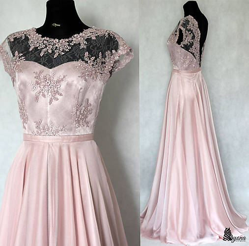 Spoločenské šaty s kruhovou sukňou v púdrovej ružovej farbe