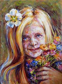 Obrazy - Dievča s kvetmi 2015 - 5779475_