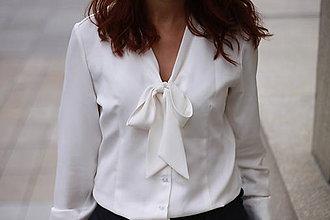 Košele - Biela košeľa s viazačkou - 5778554_