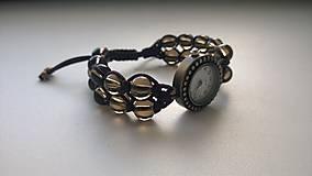 Náramky - Dvojradový náramok zo záhnedy s hodinkami - 5777511_