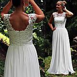 - Svadobné šaty z hrubej krajky v ivory farbe  - 5782597_
