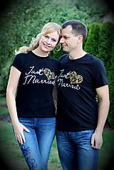 Tričká - Just Married na čiernom - cena za 2 ks - 5781233_