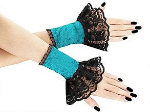 Rukavice - Spoločenské zametové rukavice čierno tyrkysové 3F - 5786021_
