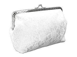 Kabelky - Dámská svadobná čipková kabelka bielá s retiazkou na rameno 0415 A - 5787389_