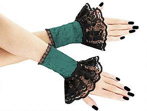 Rukavice - Spoločenské zametové rukavice čierno zelené 12F - 5787458_