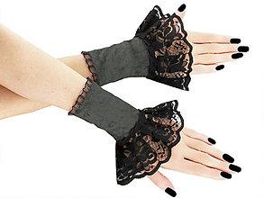 Rukavice - Spoločenské zametové rukavice čierno šedé 13F - 5787473_