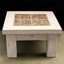 Nábytok - Biely stolík. Stôl - 5785736_