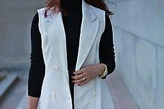 Iné oblečenie - Biela vesta/ sako bez rukávov - 5785423_