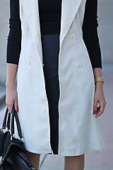 Iné oblečenie - Biela vesta/ sako bez rukávov - 5785430_
