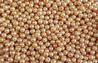 Korálky - SKO5047, Sklenené KORÁLKY Perly 8mm SvetloOranžová /10ks - 5788747_