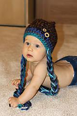Detské čiapky - modro - hnedá s gombíkmi - 5789500_