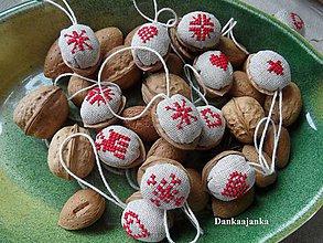 Dekorácie - Sada vianočných orieškov v červenom vzory č.2 - 5788221_