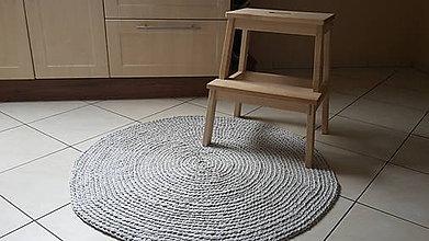 Úžitkový textil - Okrúhly koberec - šedý 100 % bavlna - 5790858_
