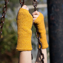 Rukavice - Horčicové rukavice bez prstov - 5795015_