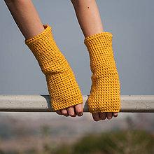Rukavice - Horčicové rukavice bez prstov - 5795017_
