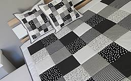 Úžitkový textil - prehoz patchwork deka 140x200cm čierno - biela - 5794051_