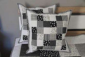 Úžitkový textil - vankúš patchwork 40 x 40 cm bielo -čierny - 5794084_