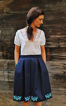 Sukne - modrá sukňa s výšivkou - 5798849_