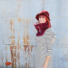 Čiapky - manšestrový klobouk zvonek, vínový 55/57cm - 5795988_