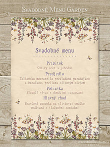 Papiernictvo - Svadobné menu Garden - 5796982_
