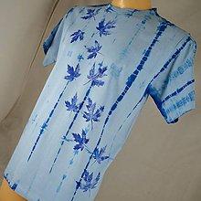 Tričká - Modré batikované triko s listy M - 5796942_