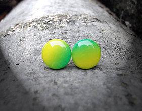 Náušnice - Krúžky 12 mm dúhové (zeleno-žlté) - 5802588_