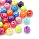 Korálky - Plastové korálky lesklé 6mm (balíček 100ks) - 5800142_
