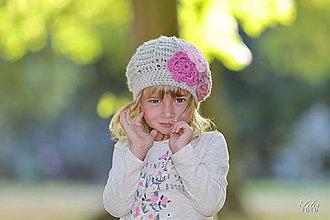 Detské čiapky - zimná s kvetmi... - 5799728_